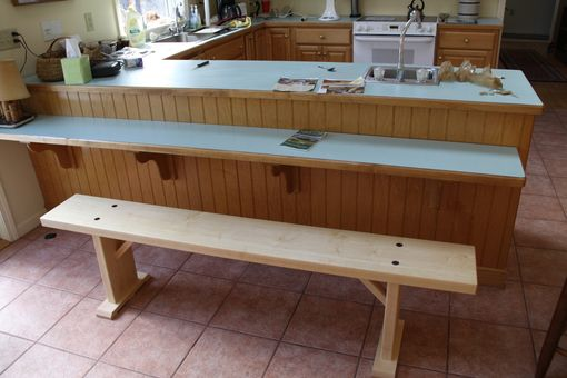 Custom Made Bowling Alley Dining Table With Benches