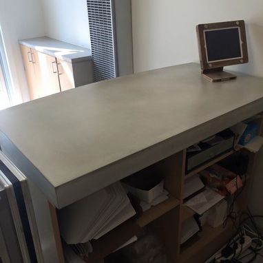 Custom Made Reclaimed Wood And Concrete Reception Desk