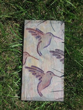 Custom Made Garden Art- Hand Carved Stone Art Tile- Hummingbirds