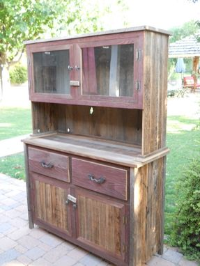 Custom Made Red And Natural Wooden Hutch