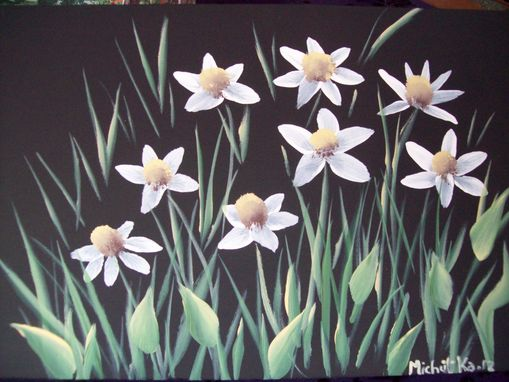 Custom Made Original Painting On Masonite Board Titled: Field Of Daisies