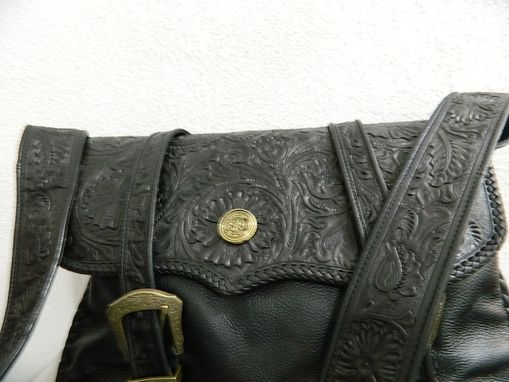Custom Made Hand Tooled Bag Hanging Strap Completely Tooled Interior, Zip Pocket Separator