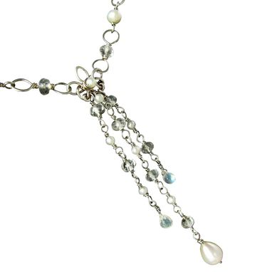 Custom Made Sterling Silver Necklace, Pearls White Topaz Rainbow Moonstone