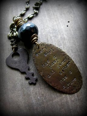 "Custom Made Stamped Brass Plate With Antique Key And Black Gemstone Necklace ""Perception Is Everything''"