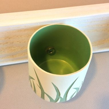 Custom Made Shabby Chic Wall Storage, Wall Hanging Containers, Green Grass