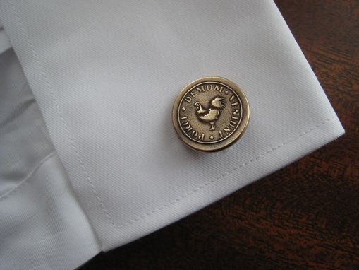 Custom Made Solid  Bronze Cuff Links Cufflinks With Custom Rooster Crest