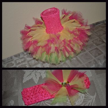Custom Made Double Layer,Petti-Tied,Halter Tutu Dress For Girls Size Newborn Up To 6 Yrs. Free Matching Headband