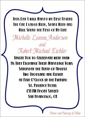 Custom Made 100 Fun And Modern Blue And Pink Bracket Style Wedding Invitation Sets With Fun Mad Lib Style Rsvp
