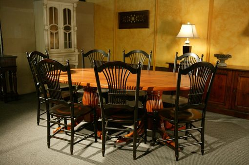 Custom Made Oval Dining Table With 2 Pedestals
