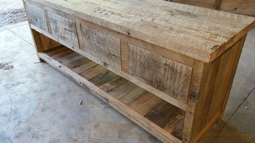 Custom Made Rustic And Reclaimed Double Vanity With 4 Drawers And Lower Shelf