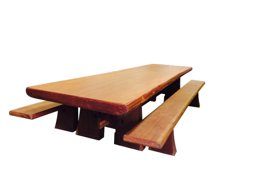 Custom Made Angelim Pedra Harvest Table With Cumaru Benches