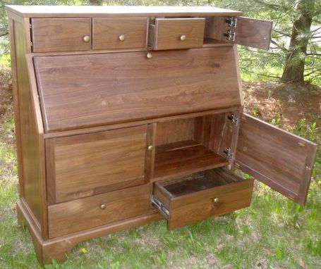 Custom Made Slim Walnut Secretary