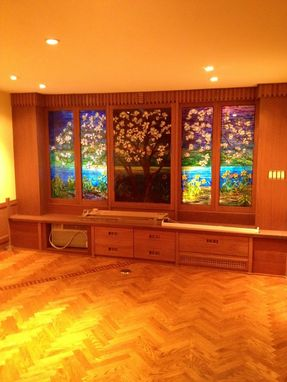 Custom Made Recreation Room With Mosaic Windows
