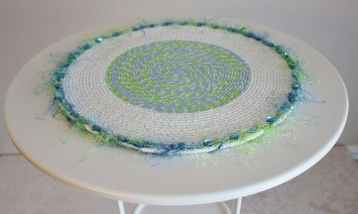 Custom Made Table Center Piece - Table Topper - Fabric Art - Fabric Wrapped Clothesline. Accent Piece