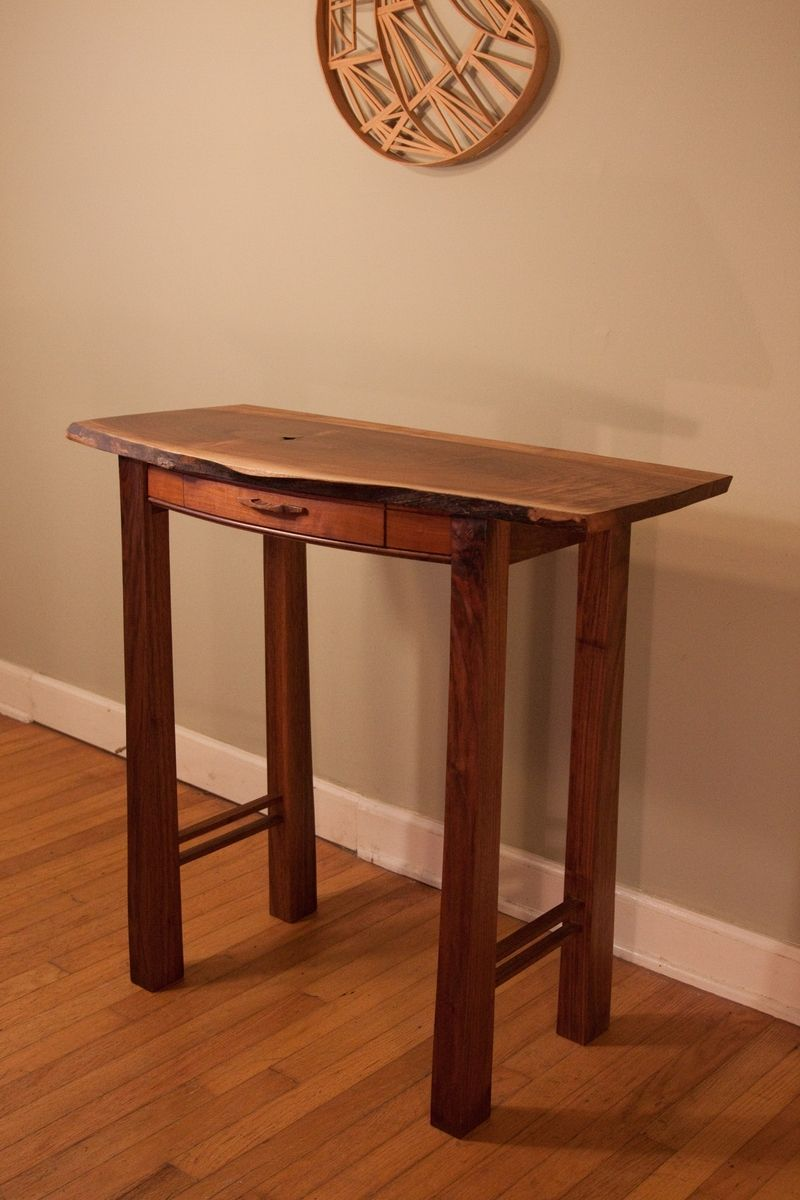Oak Side Table: Hand Crafted Old Growth Black Walnut Solid Wood Side Table