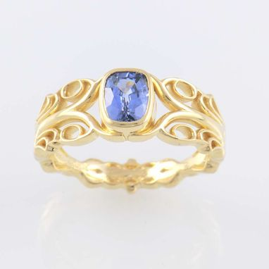 Custom Made Art Nouveau Style Ring In 18k Yellow Gold With 1.09ct. Blue Sapphire