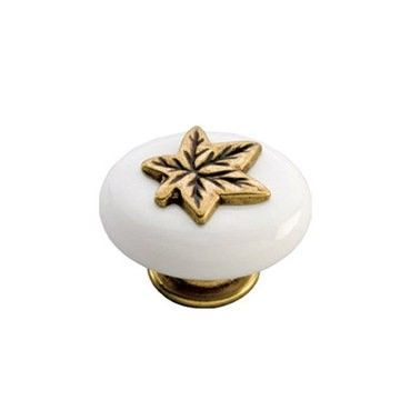 Custom Made Knob Porcelain Raised Leaf Brass
