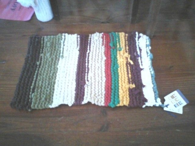 Handmade Knit T Shirt Rag Rug By
