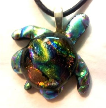 Custom Made Fused Dichroic Glass Turtle Pendant