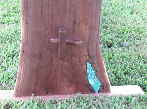 Hand Made Crotch Walnut Slab Dining Table Turquoise Inlaid