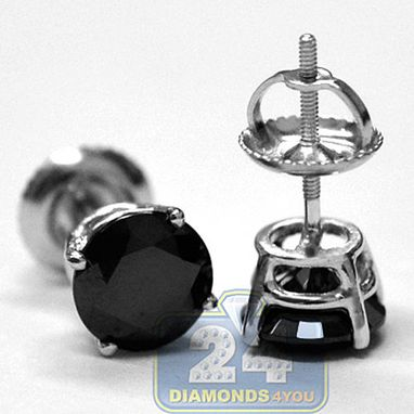Custom Made 14k White Gold 2.00 Ct Black Swarovski Elements Unisex Studs Earrings