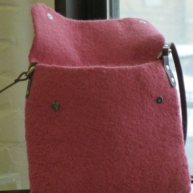 Custom Made New For Spring... Cross-Body Bag In Rose Felted Wool With Chocolate Brown Strap