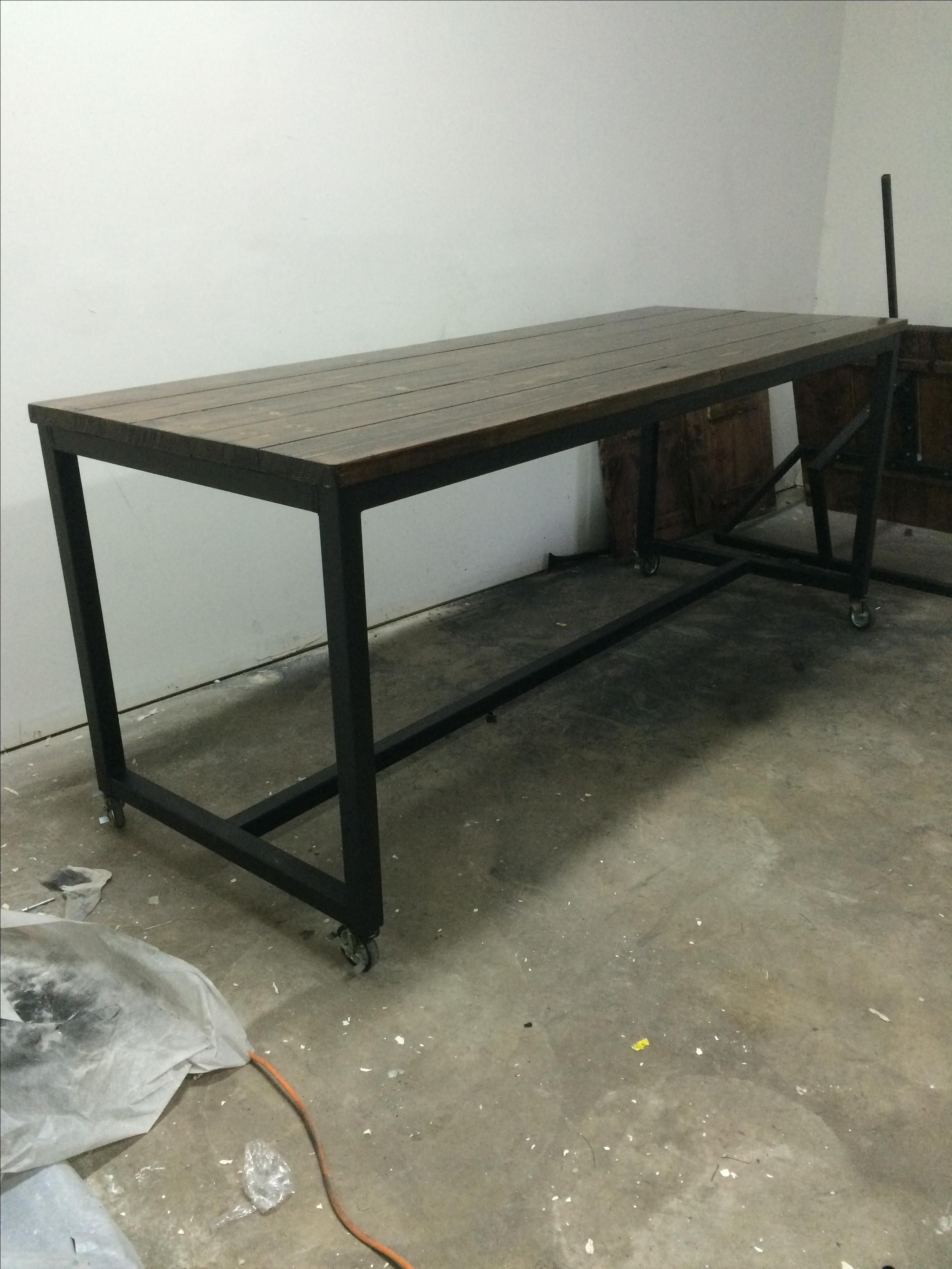Buy Hand Made Rustic Industrial Rolling Conference Table, made to