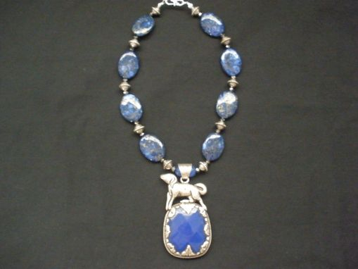 Custom Made Tibetan Blue Jade Pendant With Lapis Oval Beads And Crystal