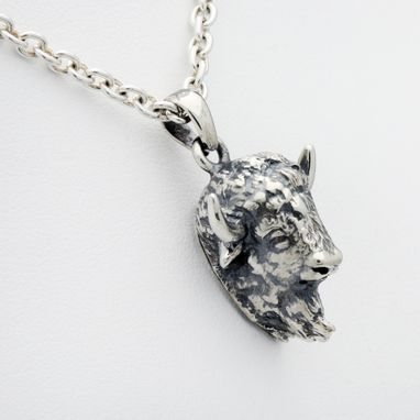 Custom Made Sterling Silver Iconic Bison Pendant