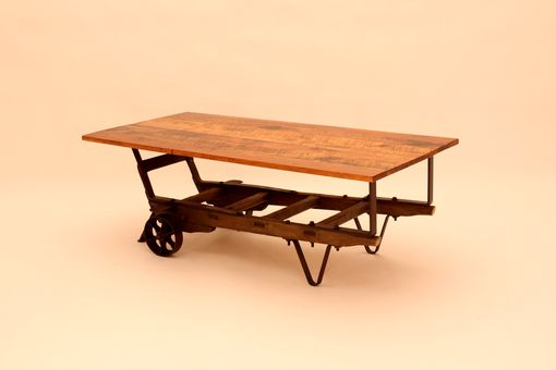 Custom Made Ct-37 Hand Truck Base W/Antique Pine Top Coffee Table - Sold