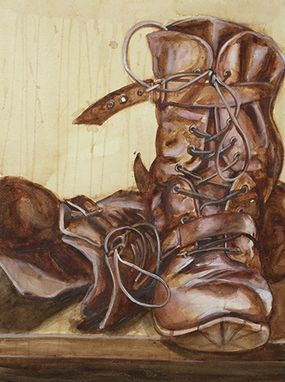 Custom Made Coffee And Boots Still Life Painting Or Drawing