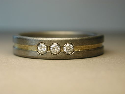 Custom Made Titanium And 24k Gold Engagement Ring