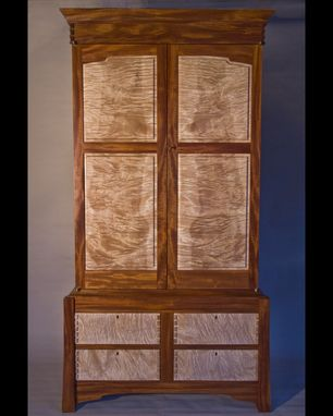 Custom Made Curly Maple & Mahogany Armoire