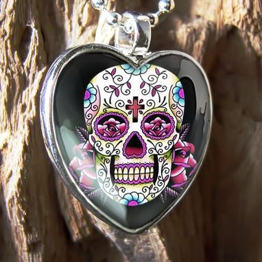 Custom Made Dia De Los Muertos Pink Sugar Skull Silver Heart Necklace 58-Shn