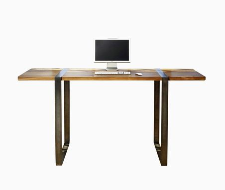 Custom Made Walnut And Steel Standing Work Desk