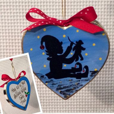 Custom Made Christmas Tree Ornament // Elf Ornament // Whimsical Painted Ornament