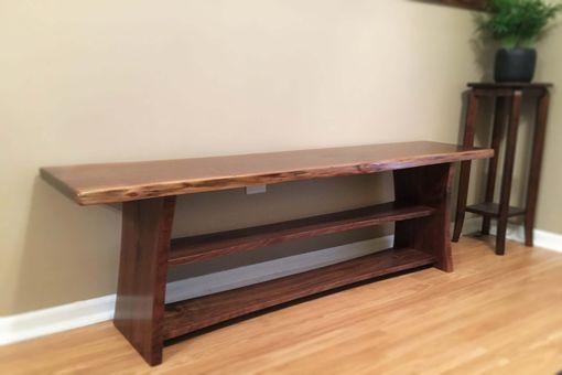 Handmade Black Walnut Live Edge Bench With Shoe Storage By