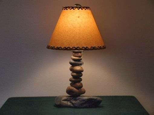 "Custom Made Tall Stone Desk Lamp W/12"" Parchment Shade"