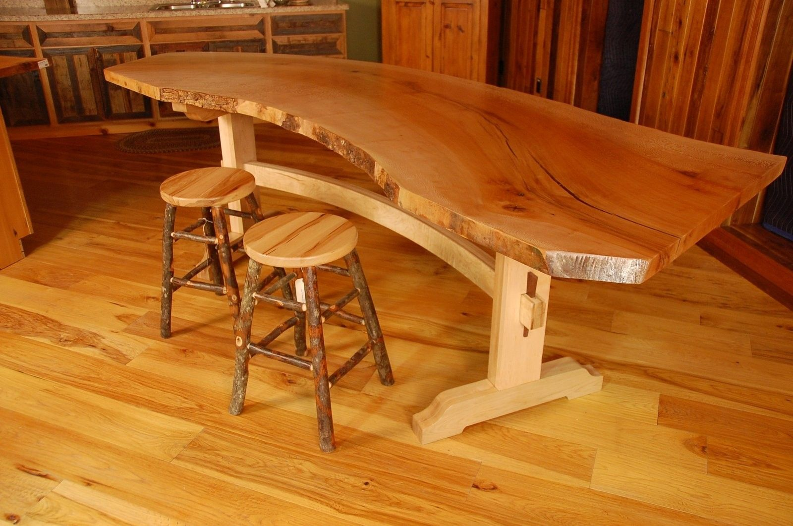 Handmade sycamore live edge slab dining table by corey for Live edge slab lumber