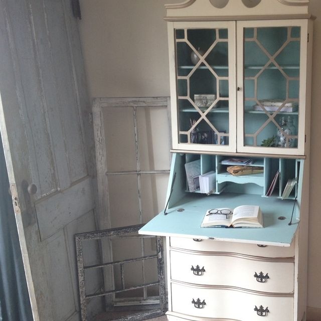 Hand Made Vintage Secretary Hutch Cabinet Desk Small Painted Distressed By Hip Decor Furniture Custommade