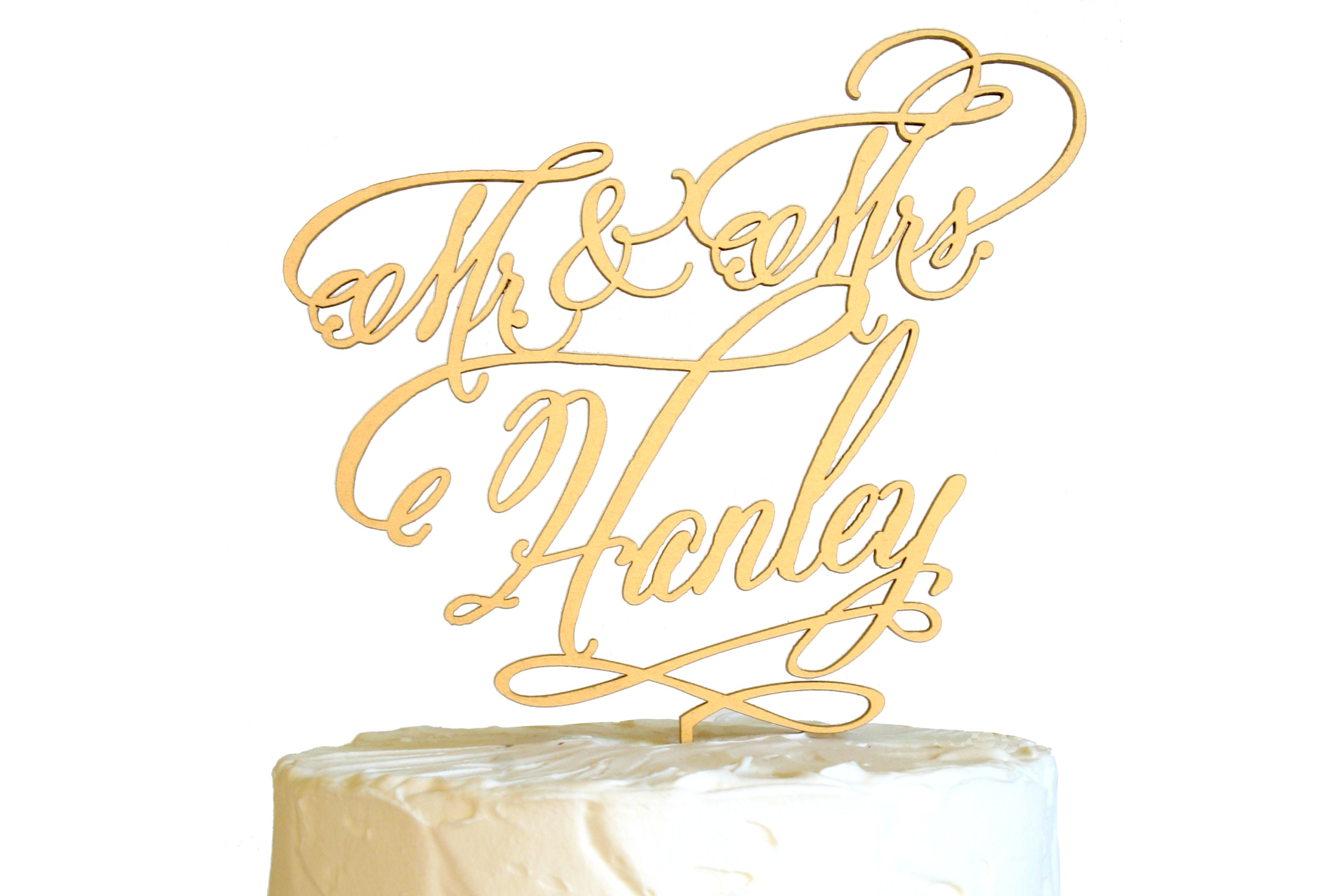 Buy a Handmade Custom Cake Topper Calligraphy Font, made to order ...