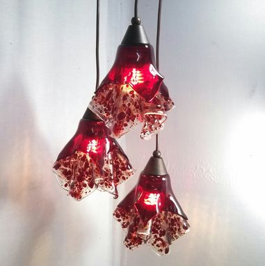 Custom Made Lighting - Signature Red Shades On Triple Entryway Fixture