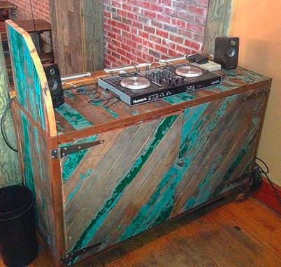 Custom Made Reclaimed Cedar And Steel Dj Booth