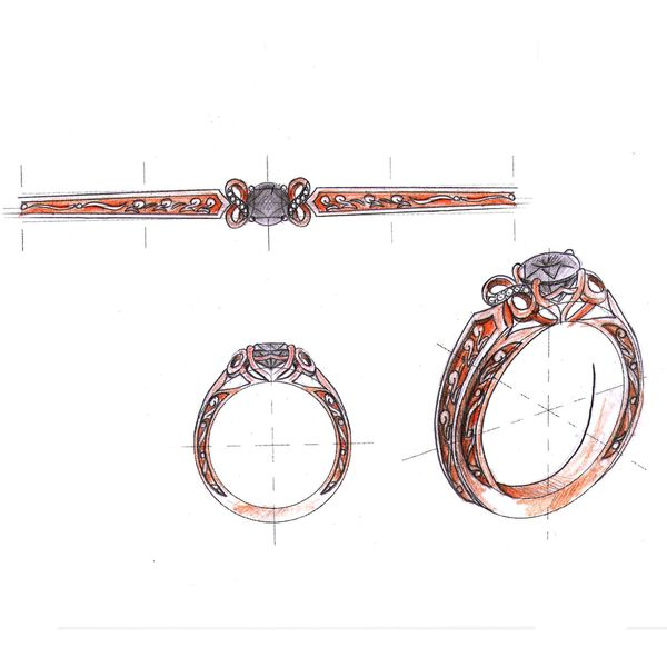 Our design sketch for a black diamond ring with infinity curves around the center stone.