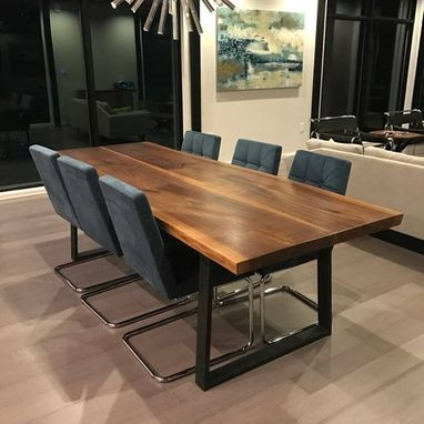 Custom Made Walnut Live Edge Dining Table With Steel Legs, Modern Walnut Live Edge Table