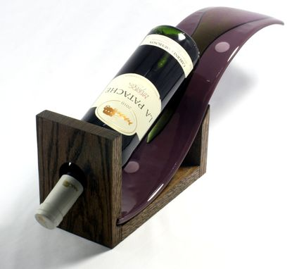 Custom Made Plum Fused Glass Wine Bottle Holder With Oak Base