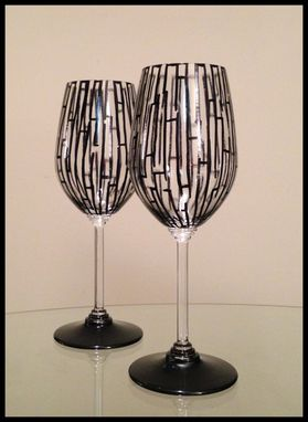 Custom Made Hand Painted Riedel Crystal Wine Glasses
