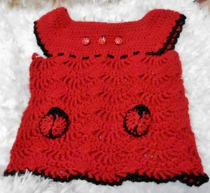 Custom Made Ladybug Red Baby Girl Crochet Sun Top/Dress With Pockets -24 Months