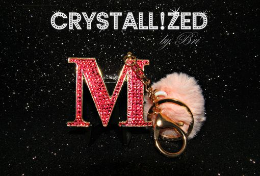 "Custom Made Crystallized Bling Keychain Made With Swarovski Crystals - ""M"" In Stock"