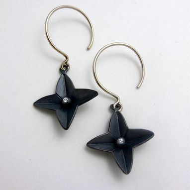 Custom Made Black Star Earrings By Cristina Hurley In Sterling Silver And Cz